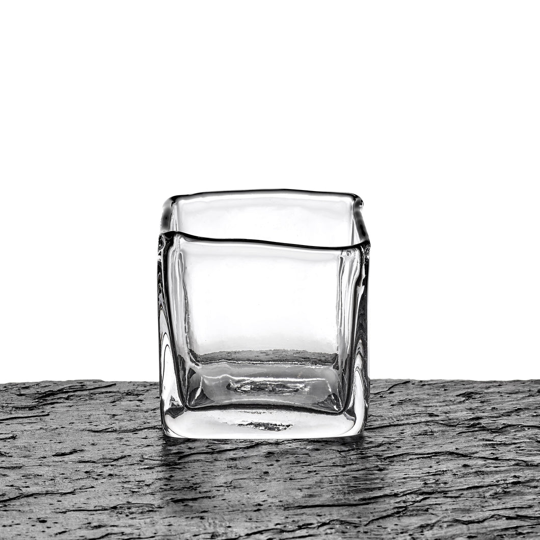 Glass vase, square