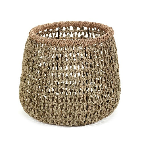 Open weaved basket with rope border