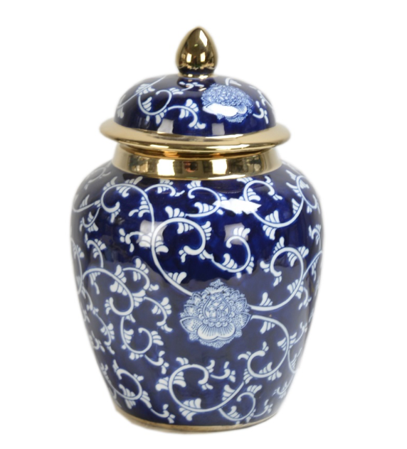 Blue and White Porcelain Jar with Lid