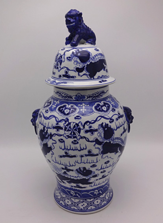White and Blue Porcelain Jar with Lid