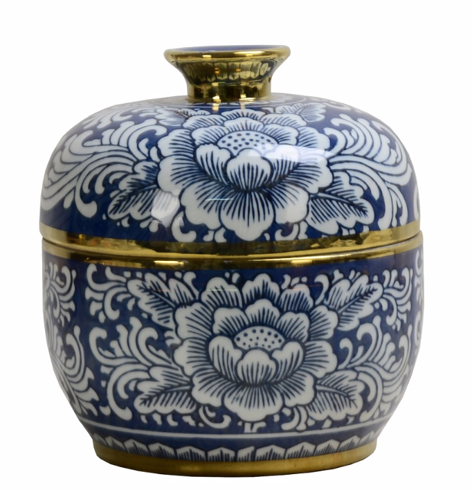Blue and White Porcelain Box with Lid