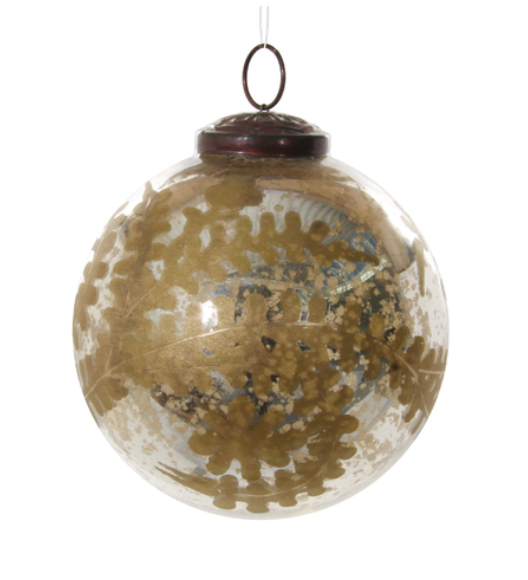 Glass ball ornament in antique silver
