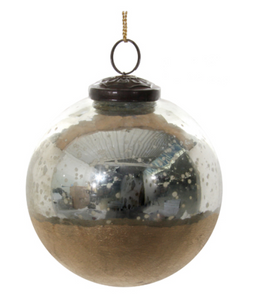 Glass ornament in antique silver with gold base