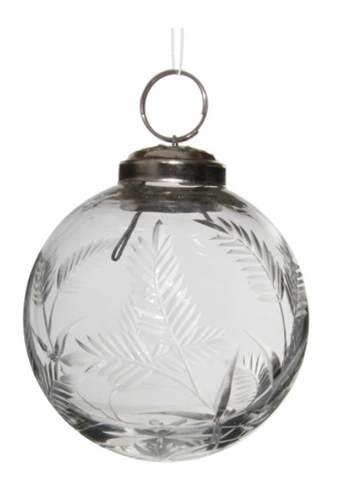 Glass crystal ornament with cut leaves
