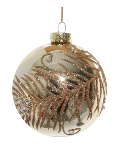 Glass ornament with gold glitter jewelleries feather