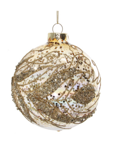 Glass ornament with gold lustered glitter inside