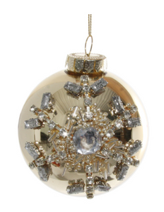 Glass ornament with gold jewel snowflake