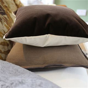 Varese Linen & Cocoa Velvet Cushion, New Collection from Designers Guild