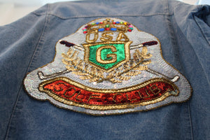 "Sequins ""Golf Club"" Denim Jacket"