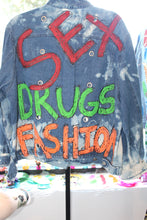 "Load image into Gallery viewer, ""Sex, Drugs and Fashion"" Denim Jacket"
