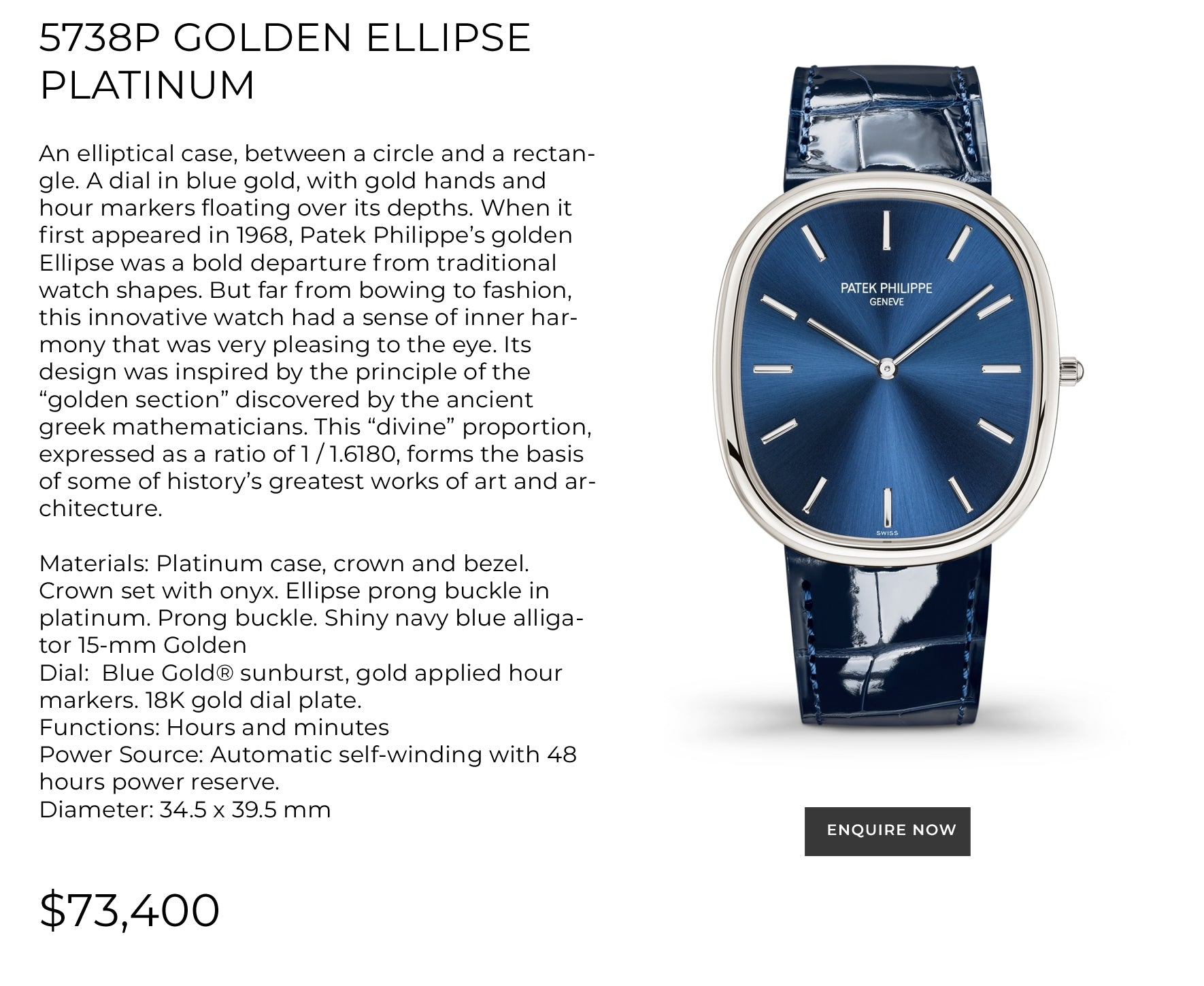 Patek Golden Ellipse Platinum