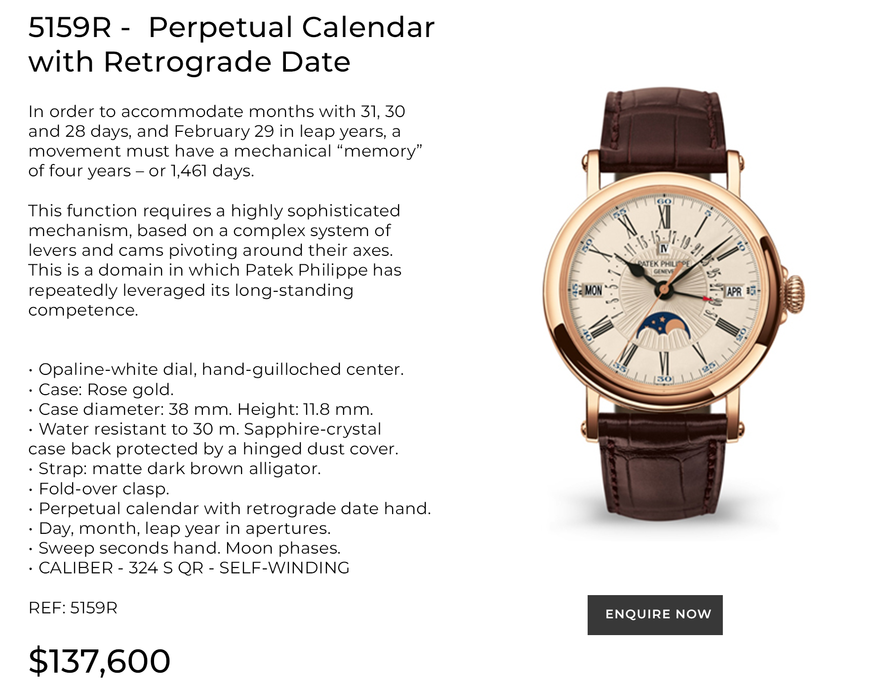 PERPETUAL CALENDAR  WITH RETROGRADE DATE
