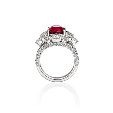 18CT WHITE GOLD 5.01CT BURMESE RUBY AND DIAMOND DRESS RING