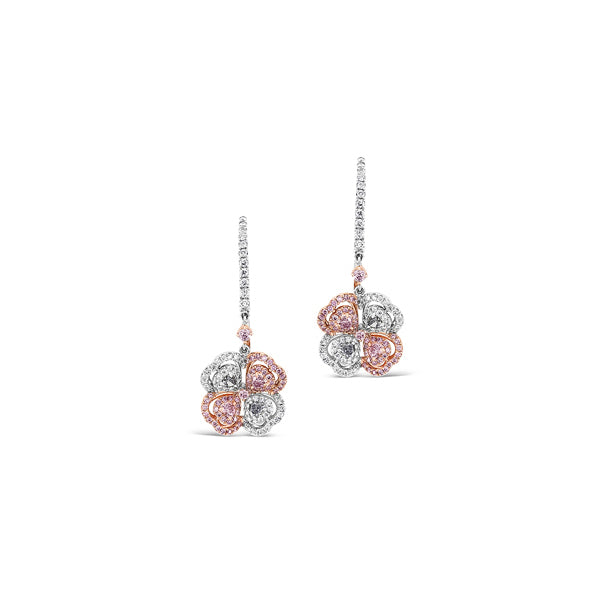 ARGYLE BLUE & PINK DIAMOND CLOVER EARRINGS