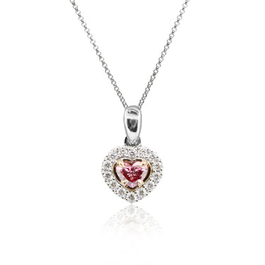 0.17CT ARGYLE HEART SHAPE PINK WHITE DIAMOND PENDANT