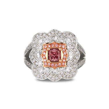 PLATINUM 0.50CT ARGYLE PINK DIAMOND PRINCESS CUT DIAMOND RING