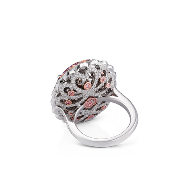 18CT ROSE GOLD AND PLATINUM ARGYLE PINK DIAMOND AND MADAGASCAN SAPPHIRE DRESS RING