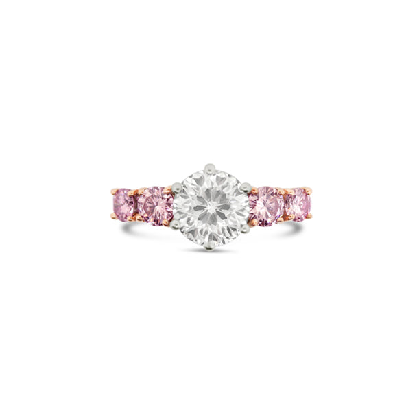 ARGYLE PINK DIAMOND AND DIAMOND SET IN ROSE AND WHITE GOLD