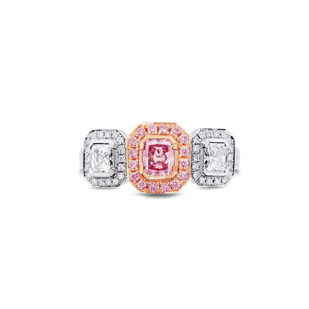 PLATINUM AND 18CT ROSE GOLD 0.40CT RADIANT CUT ARGYLE PINK DIAMOND AND WHITE DIAMOND RING