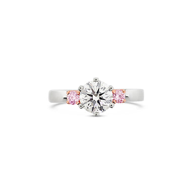 ARGYLE PINK DIAMOND AND DIAMOND PLATINUM AND ROSE GOLD RING