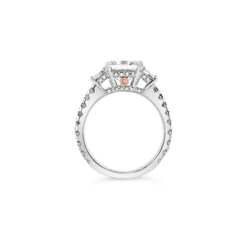 PLATINUM AND ROSE GOLD ASSCHER CUT ROUND BRILLIANT CUT PINK AND WHITE DIAMOND RING