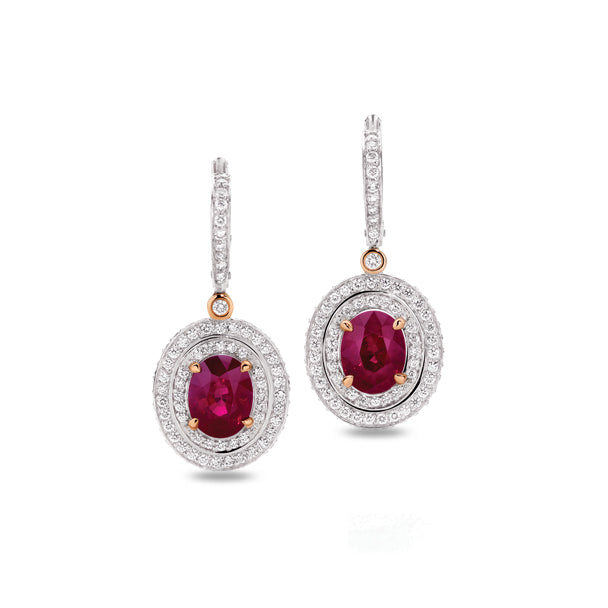 PICCHIOTTI 18CT WHITE GOLD AND ROSE GOLD RUBY AND DIAMOND DROP EARRINGS