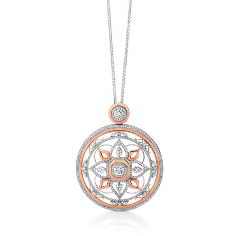 18CT WHITE AND ROSE GOLD DIAMOND SET 'ART DECO' STYLE PENDANT