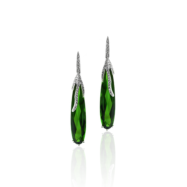 18CT WHITE GOLD, GREEN TOURMALINE & DIAMOND EARRINGS