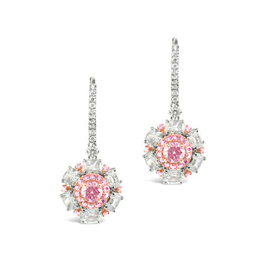 ARGYLE PINK DIAMOND AND WHITE DIAMOND 'SNOWFLAKE' DROP EARRINGS SET IN 18CT ROSE AND WHITE GOLD
