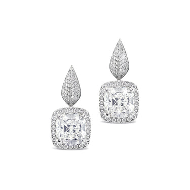 18CT WHITE GOLD CUSHION CUT DIAMOND EARRINGS