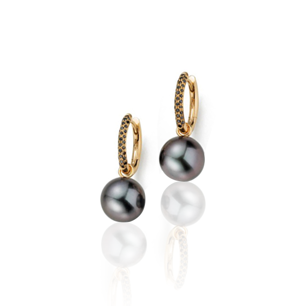 WAVE TAHITIAN PEARL & BLACK DIAMOND EARRINGS