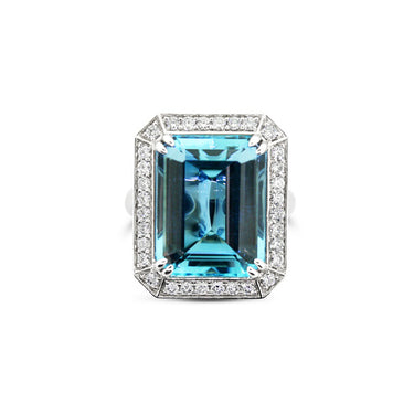 18CT WHITE GOLD EMERALD CUT AQUAMARINE AND DIAMOND RING