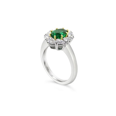PICCHIOTTI EMERALD AND DIAMOND OVAL CUT CLUSTER RING