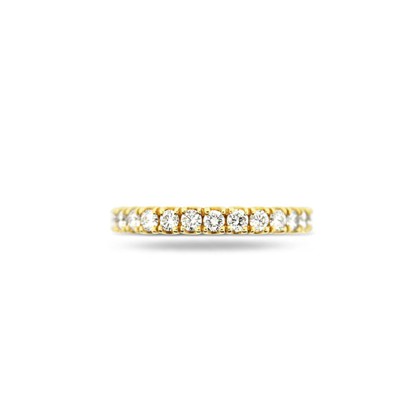 18CT YELLOW GOLD CLAW SET ETERNITY DIAMOND RING