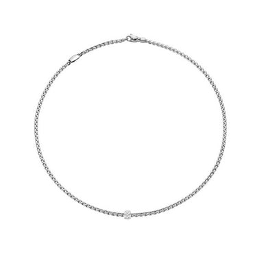 FOPE FLEX'IT EKA 18CT WHITE GOLD NECKLACE WITH DIAMOND RONDEL