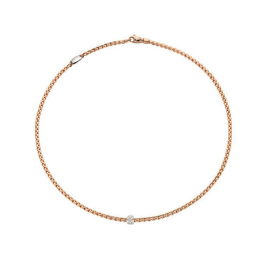 FOPE EKA TINY NECKLACE IN ROSE AND WHITE GOLD WITH DIAMOND RONDEL