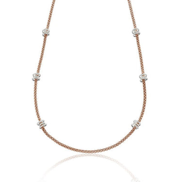 FOPE FLEX'IT SOLO NECKLACE WITH DIAMOND RONDELS IN ROSE GOLD