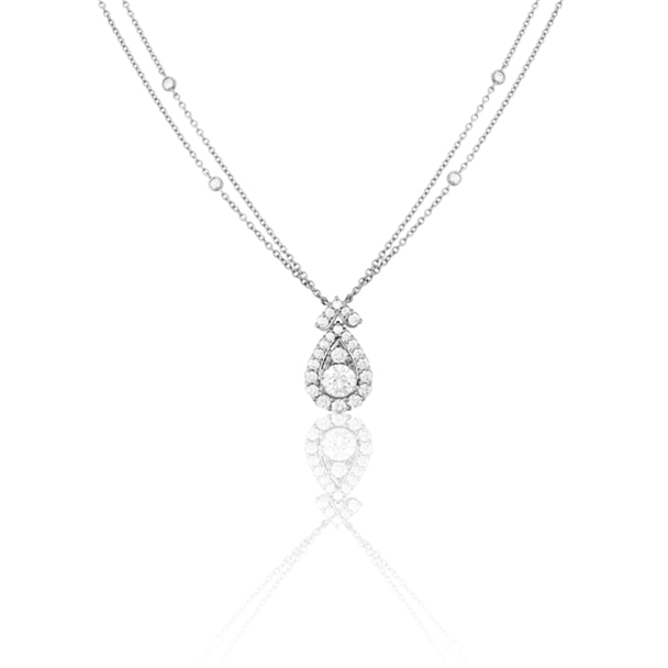 HEARTS ON FIRE – AERIAL VICTORIAN DIAMOND HALO DROP NECKLACE