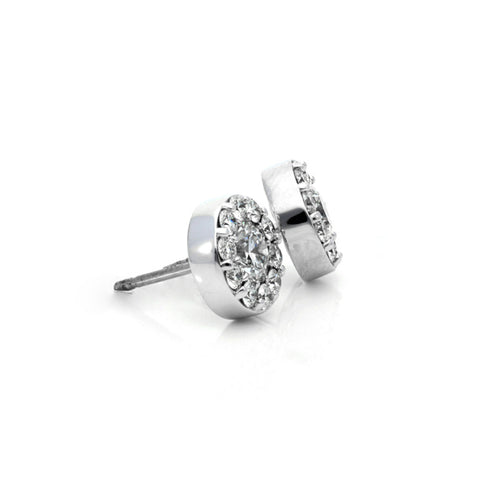 HEARTS ON FIRE FULFILLMENT ROUND HALO DIAMOND STUD EARRINGS