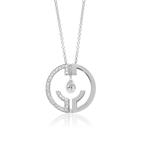 "18CT WHITE GOLD ""HOPE WILL CATCH THE TEARS"" DIAMOND PENDANT"
