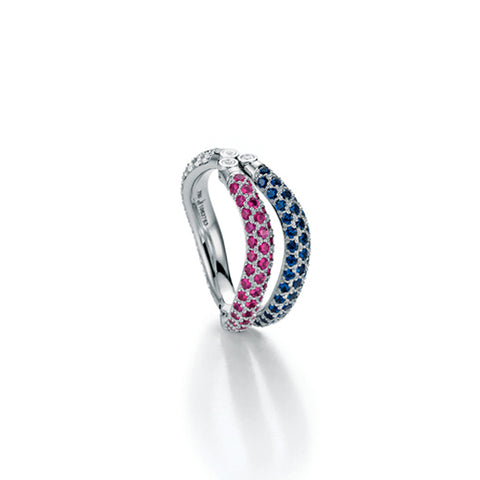 JORG HEINZ  '2 PLAY' 18CT WHITE GOLD DIAMOND AND PINK SAPPHIRE RING