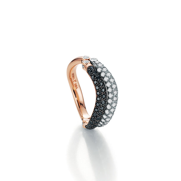 JORG HEINZ '2 PLAY' 18CT WHITE AND ROSE GOLD BLACK AND WHITE DIAMOND RING