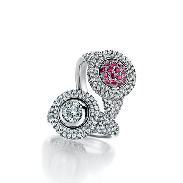 JORG HEINZ E-MOTION WHITE GOLD DIAMOND AND PINK SAPPHIRE RING