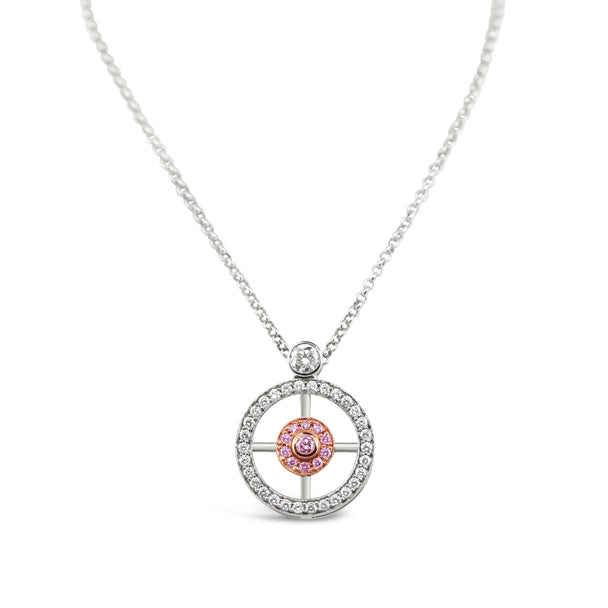 ARGYLE PINK DIAMOND AND DIAMOND NECKLACE SET IN 18CT ROSE AND WHITE GOLD