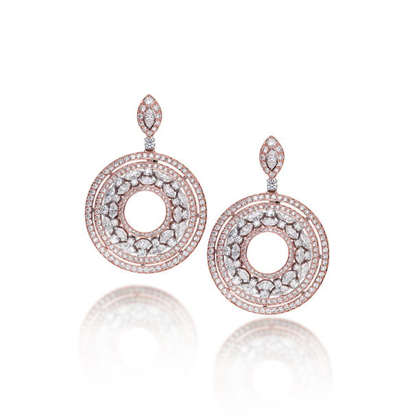 18CT ROSE AND WHITE GOLD PICCHIOTTI DIAMOND SET CIRCULAR DROP EARRINGS