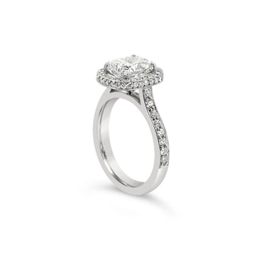 PLATINUM 2.14CT CUSHION CUT CLAW SET GRACE RING