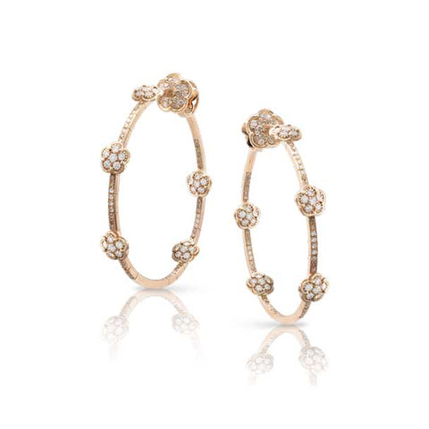 PASQUALE BRUNI FIGLIA DEI FIORI 18CT ROSE GOLD WHITE AND CHAMPAGNE DIAMOND EARRINGS