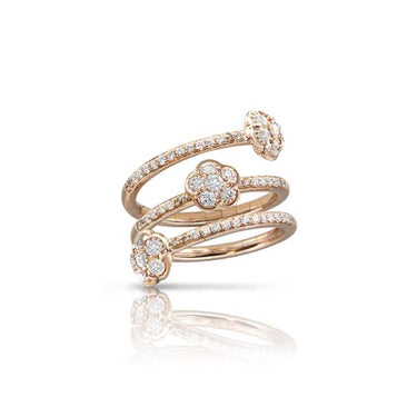 PASQUALE BRUNI FIGLIA DEI FIORI 18CT ROSE GOLD WHITE AND CHAMPAGNE DIAMOND RING