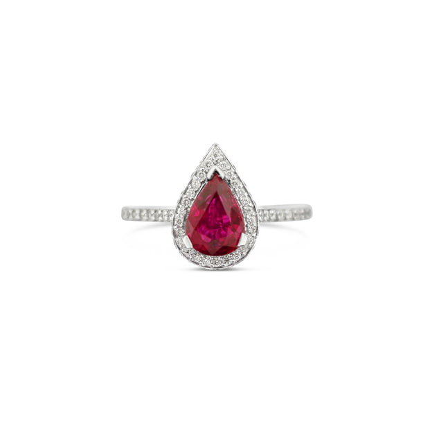 18CT WHITE GOLD PEAR SHAPE RUBY AND DIAMOND HALO RING