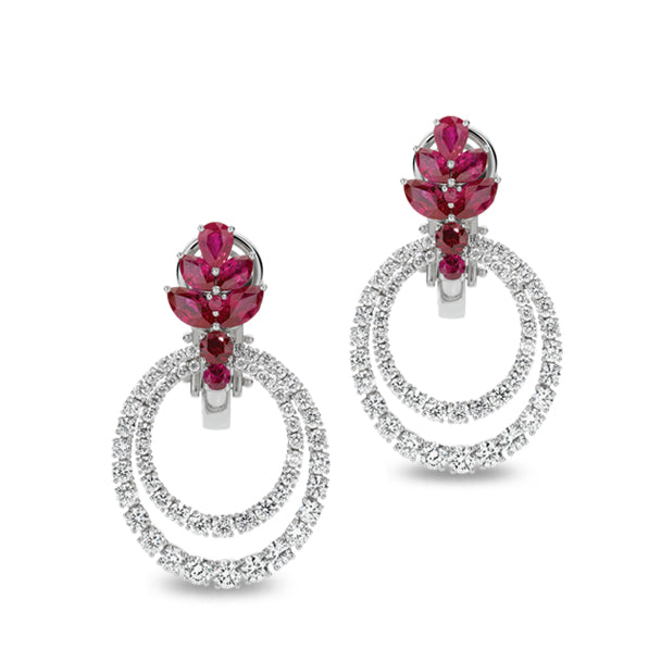 PICCHIOTTI 18CT WHITE GOLD RUBY AND DIAMOND DROP EARRINGS